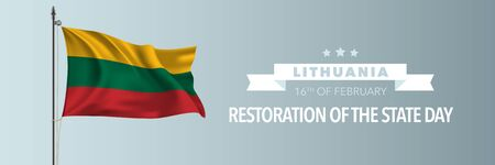 Lithuania happy restoration of the state day greeting card, banner vector illustration