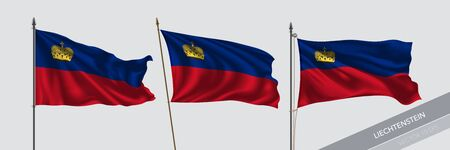 Set of Liechtenstein waving flag on isolated background vector illustration Ilustração