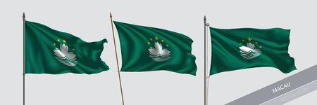 Set of Macau waving flag on isolated background vector illustration