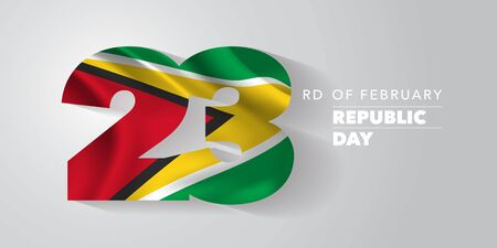 Guyana happy republic of the state day vector banner, greeting card. Wavy flag in nonstandard design for 23rd of February national holiday