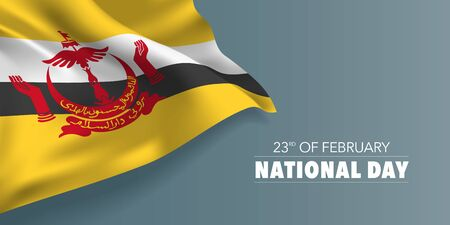 Brunei national day greeting card, banner with template text vector illustration. Memorial holiday 23rd of February design element with hands and umbrella