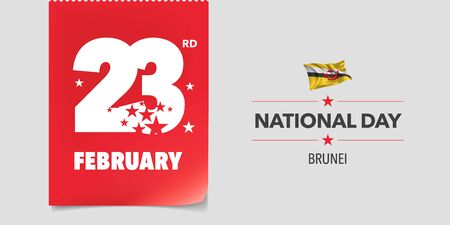 Brunei national day greeting card, banner, vector illustration. Day 23rd of February background with elements of flag in a creative horizontal design