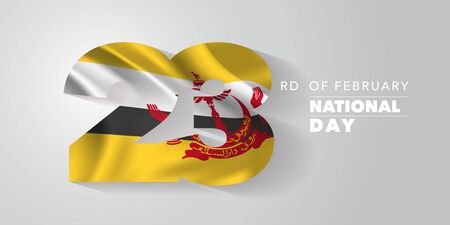 Brunei happy national day vector banner, greeting card. Wavy flag in nonstandard design for 23rd of February national holiday
