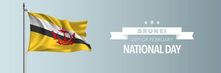 Brunei happy national day greeting card, banner vector illustration. Holiday 23rd of February design element with waving flag on flagpole