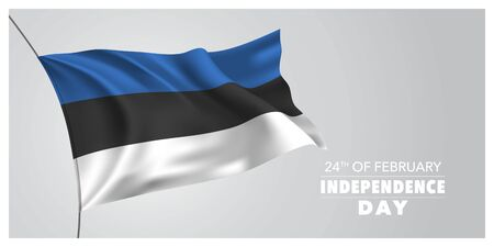 Estonia independence day greeting card, banner, horizontal vector illustration. Estonian holiday 24th of February design element with waving flag as a symbol of independence