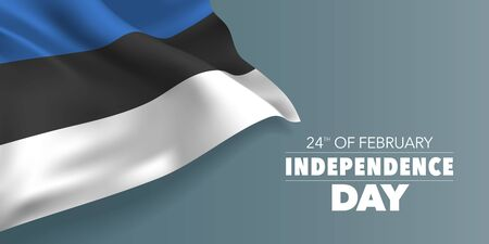 Estonia independence day greeting card, banner with template text vector illustration. Estonian memorial holiday 24th of February design element with stripes