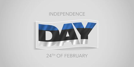 Estonia happy independence day vector banner, greeting card. Estonian wavy flag in nonstandard design for 24th of February national holiday Illusztráció