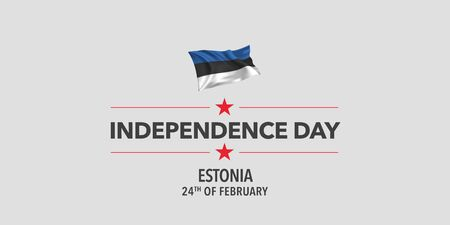 Estonia independence day greeting card, banner, vector illustration