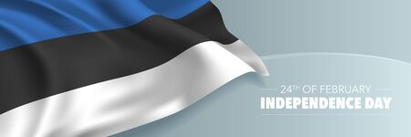 Estonia independence day vector banner, greeting card. Estonian wavy flag in 24th of February national patriotic holiday horizontal design