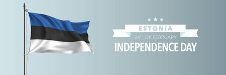 Estonia happy independence day greeting card, banner vector illustration