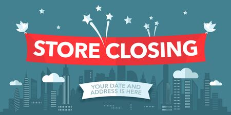 Store closing sale vector illustration, background with bold sign