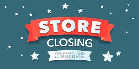 Store closing vector illustration. Template banner, flyer for store closing clearance sale