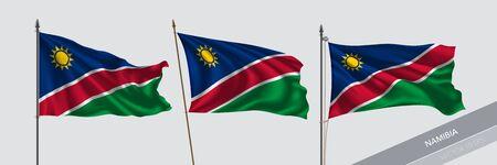 Set of Namibia waving flag on isolated background vector illustration
