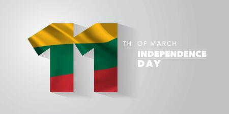 Lithuania happy independence day vector banner, greeting card