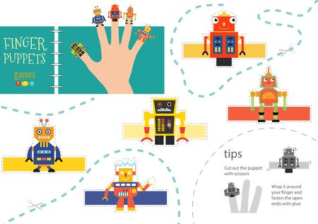 Finger puppet vector robots. Cut and glue educational illustration for little children. Collection of hand puppets for children party