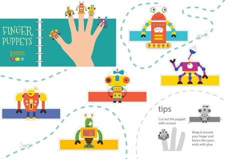 Finger puppet vector robots. Cut and glue simple educational worksheet for little children. Collection of hand puppets for children show or birthday party Фото со стока - 139710697