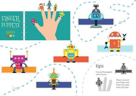 5 finger puppet vector robots. Cutout educational worksheet for preschool or school kids Фото со стока - 139711080