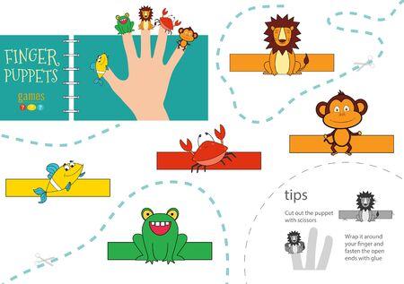 5 finger puppet vector animals. Cut and glue educational worksheet for preschool or school kids Иллюстрация