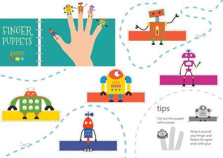 Finger puppet vector robots. Cut and glue educational worksheet for little children. Collection of hand puppets for children show Иллюстрация