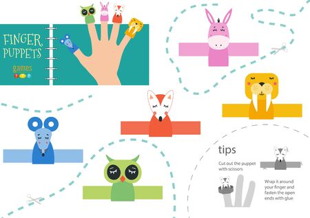 Finger puppet vector animals. Cut and glue educational worksheet with donkey, mouse, owl for little children. Фото со стока - 139711899