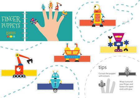 Vector robotics as finger puppets. Cut and glue riddle for preschool kids. Cute paper futuristic robot characters Иллюстрация