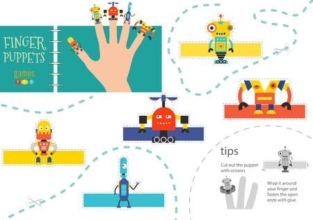 5 finger puppet vector robots. Cut and glue educational worksheet for preschool or school kids. Set of isolated hand dolls for children theatre