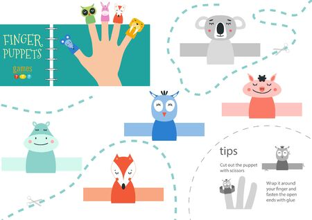 Finger puppet vector animals. Cut and glue educational worksheet for preschool or school kids Фото со стока - 139712486