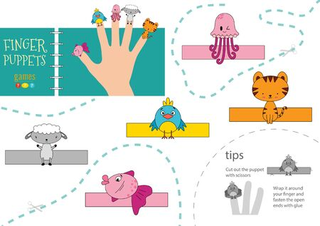 Vector animals as finger puppets. Cut and glue activity for preschool kids Иллюстрация