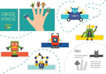 Finger puppet vector robots. Cut and glue educational worksheet for preschool or school kids