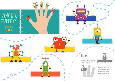 Vector robotics as finger puppets. Cut and glue activity for preschool kids. Cute paper futuristic robot characters
