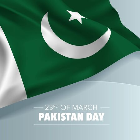 Pakistan day greeting card, banner, vector illustration.