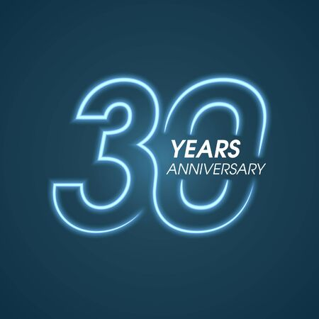 30 years anniversary vector icon, logo. Graphic design element with neon light number