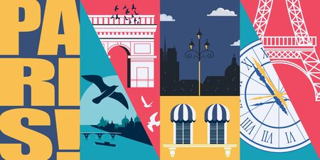 France vector skyline illustration, postcard. Travel to France, Paris modern flat graphic design