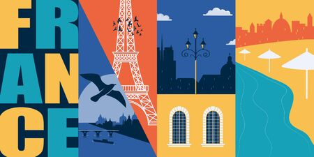 France vector banner, illustration. City skyline, historical buildings in modern flat design style