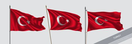 Set of Turkey waving flag on isolated background vector illustration. 3 Turkish wavy realistic flag as a symbol of patriotism Vecteurs