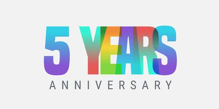 5 years anniversary vector icon, logo. Multicolor design element with modern style sign Ilustracja