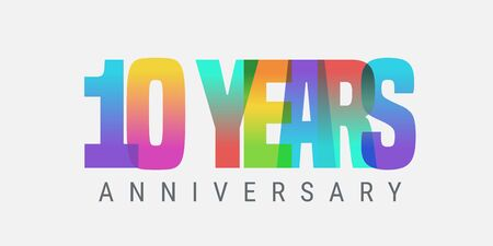 10 years anniversary vector icon, logo. Multicolor design element with modern style sign