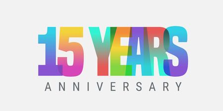 15 years anniversary vector icon, logo. Multicolor design element with modern style sign