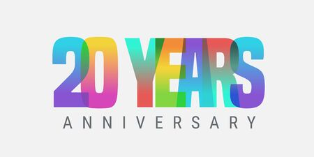 20 years anniversary vector icon, logo. Multicolor design element with modern style sign