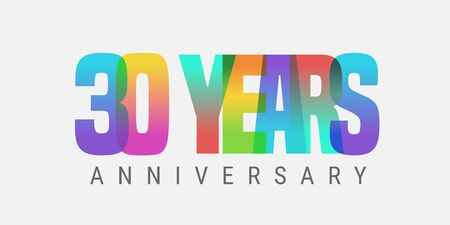 30 years anniversary vector icon, logo. Multicolor design element with modern style sign