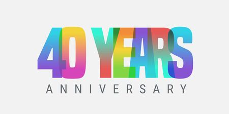 40 years anniversary vector icon, logo. Multicolor design element with modern style sign Ilustracja