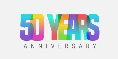 50 years anniversary vector icon, logo. Multicolor design element with modern style sign Ilustracja