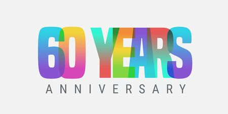 60 years anniversary vector icon, logo. Multicolor design element with modern style sign Ilustracja