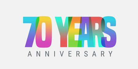 70 years anniversary vector icon, logo. Multicolor design element with modern style sign Ilustracja