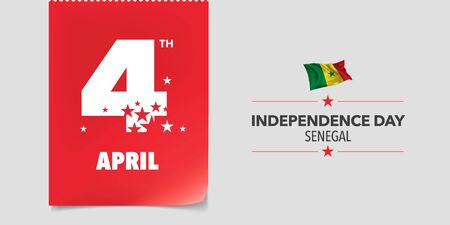Senegal independence day greeting card, banner, vector illustration Ilustracja