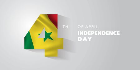 Senegal happy independence day vector banner, greeting card Ilustracja
