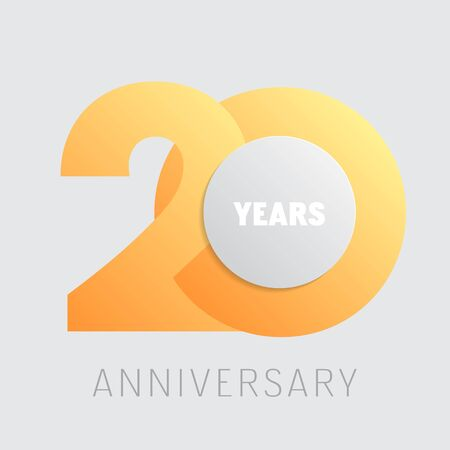 20 years anniversary vector icon, logo. Square graphic design element with golden color number Logó