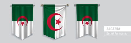 Set of Algeria waving pennants on isolated background vector illustration