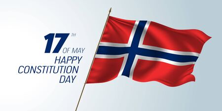 Norwegen glücklicher Verfassungstag Vektorfahne, Grußkarte. Norwegische wellenförmige Flagge in nicht standardmäßigem Design für den Nationalfeiertag 17. Mai