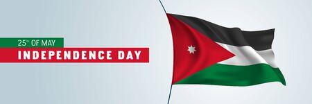 Jordan happy independence day vector banner, horizontal greeting card Vetores